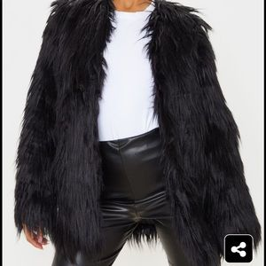 Black shaggy faux fur jacket